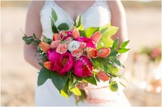 Bright colored wedding bouquet. Tropical Bridal Session florals by Courtney Inghram Events Luke & Ashley Photography