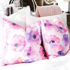 Loving how our latest watercolor pillows look over at @rothmanandco  !!!   Regram from Rothman & Co, Vancouver BC   Featuring the Poppy print by JOUE Design   Shop this look and more www.jouedesign.com   original artwork   watercolor   painting   textile print   fabric   linen cotton   down feather   throw pillow   down feather   floral   flower   botanical