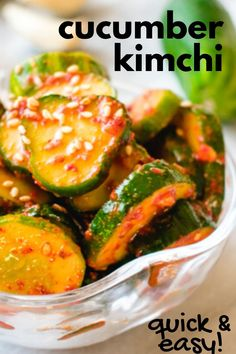 Korean kimchi that is quick, easy, and tasty. Just needs a few simple, vegan ingredients and less than 30 minutes to prepare. Learn how to make this classic salad with fresh cucumbers! Veggie Dishes, Vegetable Recipes, Vegetarian Recipes, Cooking Recipes, Healthy Recipes, Healthy Food, Korean Side Dishes, Korean Cucumber Side Dish, Korean Cucumber Salad