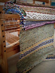 Rosepath rag rugs just off the loom. Karen Isenhower