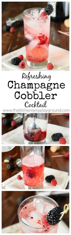 Champagne Cobbler Cocktail ~ crisp & refreshing with the wonderful flavor of fresh berries in every delicious sip. www.thekitchenismyplayground.com