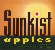 CRATE-LABEL-VINTAGE-WATSONVILLE-POSTER-ART-SUNKIST-RARE-1940S-APPLE-ORIGINAL