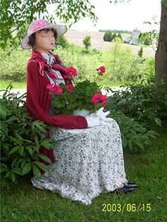 Dressed chair plant lady...kind of like the ones I have in my bedroom. #GardenChair