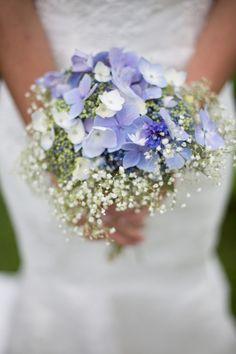 blue white baby bouquet wedding