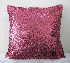Starry Night. Fuchsia Sequins Embellished Pillow Cover
