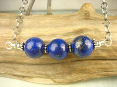 Lapis Lazuli Natural Gemstone  Necklace Sterling Silver by sofoola, $37.00