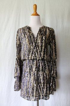 PARKER Black & Blue Silk long Sleeved Pleated Ruffled Sleeve blouson Dress XS #Parker #Blouson #Cocktail