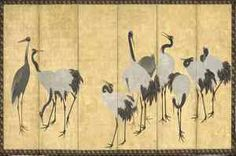 Maruyama Okyo, Cranes, [Similar to LACMA's Cranes]. 1774 / one of a pair of six-panel screens; ink, color and gold leaf on paper.