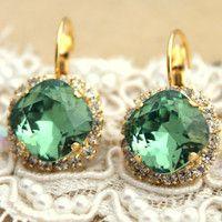 Crystal green color earring - 14 k plated gold post earrings real Swarovski rhinestones .