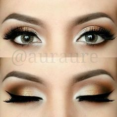 golden smokey eye. black winged liner. natural arched brows. highlighted inner…