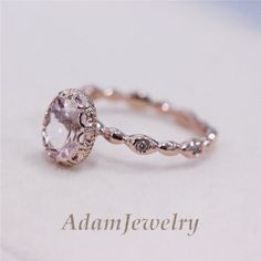 Unique VS 6x8mm Pink Morganite Diamond Engagement 14K Rose Gold Wedding Ring