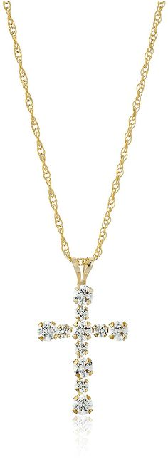 10k Gold with Swarovski Elements RD Cross Pendant Necklace (1/2 cttw), 18' ** You can get more details by clicking on the image.