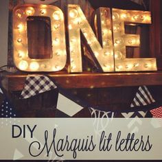 DIY marquis lit letters.  MUST DO THIS!  Cardboard Letters, Spray Paint, Globe Lights, Duct Tape.