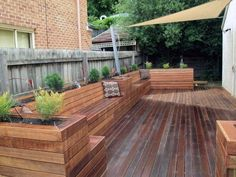 Full size of outdoor planter boxes diy outside patio box design ideas making deck designs architectures Deck Bench Seating, Timber Bench Seat, Backyard Seating, Outdoor Seating Areas, Garden Seating, Backyard Patio, Backyard Landscaping, Lounge Seating, Outdoor Lounge