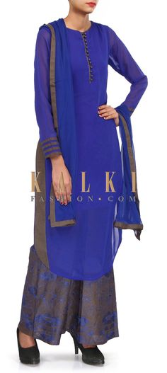 Buy Online from the link below. We ship worldwide (Free Shipping over US$100). Product SKU - 304284.Product Link - http://www.kalkifashion.com/royal-blue-palazzo-suit-adorn-in-resham-embroidery-only-on-kalki.html
