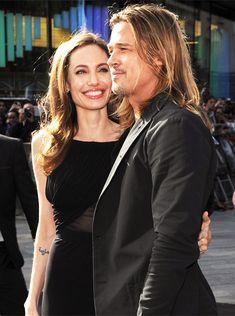 """genarowlands: """"Angelina Jolie y Brad Pitt asisten al estreno mundial de World War Z en The Empire Cinema el 2 de junio de 2013 en Londres, Inglaterra.  """""""