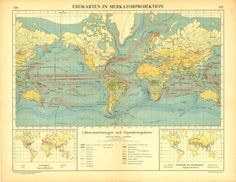 Antique World Map Mercator Projection Ocean Currents and Vegetation. SOLD.