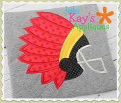 Baby Kay's Appliques - Indian Football Helmet 4x4, 5x7, 6x10, 8x8, $4.00 (http://www.babykaysappliques.com/indian-football-helmet-4x4-5x7-6x10-8x8/)
