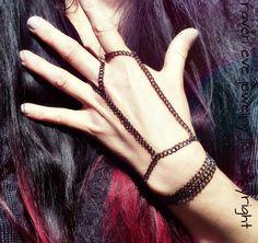Heavy Effing Metal Slave Bracelet Chain Hand Wrap Most Excellent Gunmetal Jewelry Goth Punk
