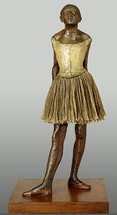Degas ~ The Little Fourteen-Year-Old Dancer; cast in 1922 from a mixed-media sculpture modeled ca. 1879–80  Edgar Degas (French, 1834–1917)  Bronze, partly tinted, with cotton skirt and satin hair ribbon, on a wooden base