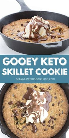 This keto skillet cookie is the ultimate sugar free indulgence. It's warm and gooey, and so easy to make. 35 minutes, start to finish!