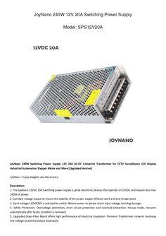 JoyNano 240W Switching Power Supply 12V 20A AC-DC Converter Transformer Data Sheet