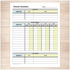 Free Workout Chart Template  Fitness    Chart Workout