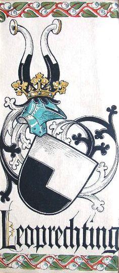 """Wappen des Geschlechts """"Leoprechting"""" -- (Woodcut) Holzschnitt in 4 Farben von Otto Hupp; 29 x 13,5 cm; (aus dem """"Mchn. Kalender"""" von 1913)"""