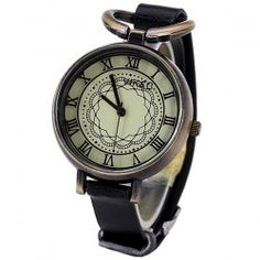 Retro Watch for Women with 12 Roman Numbers Hour Marks Leather Watchband