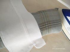 como_hacer_un_cuello_camisero_7 Bed Pillows, Pillow Cases, Couture, Sewing, Crafts, Molde, Vestidos, Cuffs, Sleeves