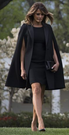 First Lady Melania Trump Wore a Casual Blazer and Jeans to Game 5 of the World Series : Melania Trump wears a black dress and Givenchy cape outside of the White House. Trump Melania, First Lady Melania Trump, Fashion Mode, Womens Fashion, Fashion Tips, Fashion Design, Fashion Trends, Ladies Fashion, Work Fashion