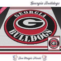 Georgia Bulldogs c2c graph crochet pattern; instant PDF download; bed blanket…