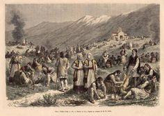 «Γιορτή στη Θήβα»,  επιζωγραφισμένη λιθογραφία.  Εθνικό Ιστορικό Μουσείο , Αθήνα