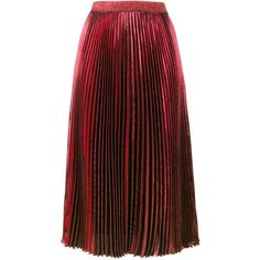 Christopher Kane high waisted pleated metallic skirt (5.235 RON) ❤ liked on Polyvore featuring skirts, bottoms, red, midi skirts, pleated skirts, high-waisted skirt, red high waisted skirt and pleated midi skirts
