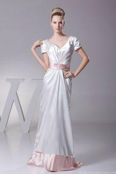 Sexy Short Sleeve V Neck Ivory And Pink Taffeta Wedding Dress With Waistband