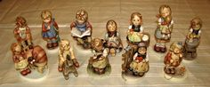 12 Goebel Hummel Figurines in good condition. Includes Doll Bath, What's New, Darling Duckling, Mothers Helper, Kiss Me, I Wonder, Doll Mother, Sister, Busy Student, Cowboy Corral, Sweet Greetings, Happy Pastime. All with recent TMKs. Middletown, CT Auction ending 5/14/13