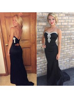 Long Black Beaded Prom Formal Evening Party Dresses 996021063