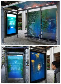 Monterey Bay Aquarium: Interactive Bus Shelters function like a virtual aquarium and give the feel of being underwater