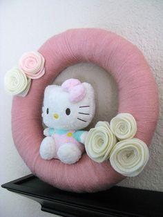 Rose Pink Hello Kitty Yarn Wrapped Wreath by CaseyLeeCrafts