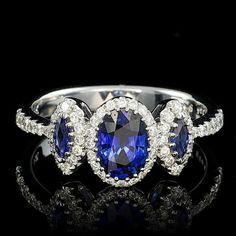 18K WHITE GOLD 1.2CT SAPPHIRE 0.40CT DIAMOND RING