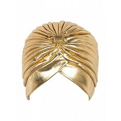 Choies Golden PU Turban Hat (€5,20) ❤ liked on Polyvore featuring accessories, hats, gold, turban hat and golden hat