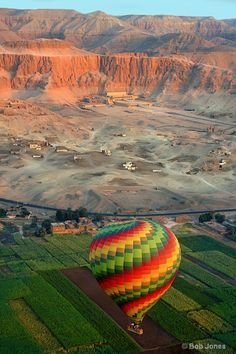 Ballooning at sunrise over the Mortuary Temple of Queen Hatshepsut, Luxor, Egypt