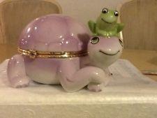 черепаха шкатулка лягушка Лимож / Bradford Ardleigh Elliott Trinket Music Box Turtle Violet Limoges New coa