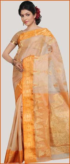 Fawn and Light Orange Bengal Handloom Pure Tussar #Silk #Saree with Blouse @ $88.34 | Shop Here: http://www.utsavfashion.com/store/sarees-large.aspx?icode=str37