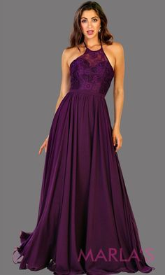 61cd93a2de5 Long high neck dark purple flowy dress with empire waist. Perfect for  simple prom dress