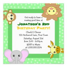 Cute Jungle Animals Kids Birthday Invitations