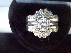PLATINUM & SS 3.75CTW R & B LCS* DIAMOND ENGAGEMENT WEDDING RING GUARD SET SZ 6 #EXCEPTIONALBUY