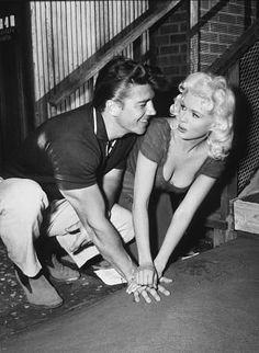Jayne Mansfield with husband Mickey Hargitay C. 1958