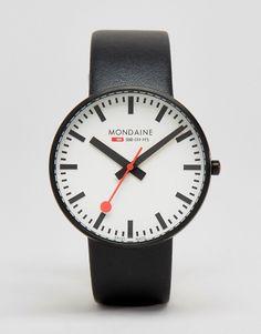Mondaine | Черные часы с циферблатом диаметром 42мм MondaineGiant