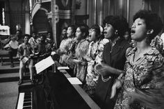 "Young women from St. Francis de Sales Academy in Powhatan singing ""Kum by Yah"" during Black Mass at the Cathedral of the Sacred Heart, September 28, 1969. 